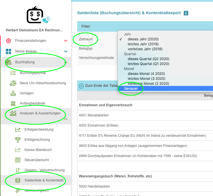 Screenshot aus FreeFinance zur Saldenliste